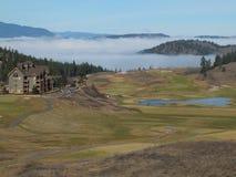 Predator Ridge. Low clouds in the valley below the Predator Ridge Resort in British Columbia Stock Images