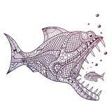 Predatore dell'acqua profonda che attacca poco pesce Fotografia Stock