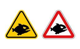 Predatore marino pericoloso Attenzione del piranha Simboli di rischio Immagini Stock