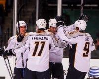 Predators Score!!. Predators celebrate after scoring a goal against the Boston Bruins Royalty Free Stock Images