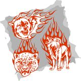 Predatory Animals and Flames - Set 4. Vector Illustration Ready for Vinyl Cutting Royalty Free Stock Photos