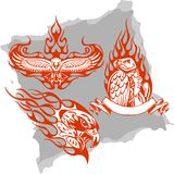 Predatory Birds and Flames - Set 3. Vector Illustration Ready for Vinyl Cutting Stock Photography
