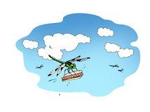 Predatory blue-green dragonfly flies with a stolen hot dog on the background of a summer sky with white cumulus clouds. Raster. Illustration royalty free illustration