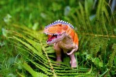 A predatory dinosaur with huge teeth among the ferns. A figurine. A predatory dinosaur with huge teeth among the ferns stock photo