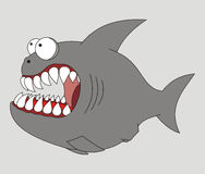 Predatory fish. Grinned cartoon fish with white jaws Royalty Free Stock Images