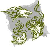 Predatory Fish and Flames - Set 1. Vector Illustration Ready for Vinyl Cutting Royalty Free Stock Image