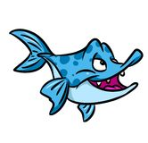 Predatory fish  piranha cartoon illustration Royalty Free Stock Image