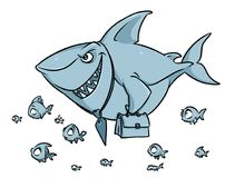 Predatory fish shark business competition superiority cartoon. Illustration isolated image stock illustration