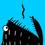 Predatory fish and the worm. Print poster or icon sticker. A predatory fish eats the worm on the hook. Fishing Royalty Free Stock Photos