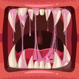 Predatory jaws of a fantastic horrible scary monster with slime , drooling, green mucus. Glue Jelly The substance is royalty free illustration