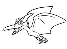 Dinosaur Pterodactyl Coloring Page Cartoon Illustrations ...