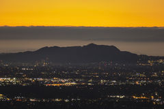 Predawn Los Angeles di Hollywood Hills Fotografie Stock