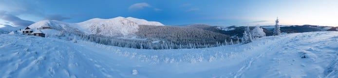 Predawn winter mountain panorama (Carpathian, Ukraine). Stock Photos