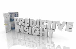 Predicitve Insight Open Door Intelligence Information Words 3d R stock images