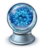 Predict Disease. Medical health care concept as a metaphor for illness forecast and prognosis with dangerous human virus cells in a fortune teller crystal ball Royalty Free Stock Photography