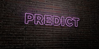 PREDICT -Realistic Neon Sign on Brick Wall background - 3D rendered royalty free stock image. Can be used for online banner ads and direct mailers Royalty Free Stock Image
