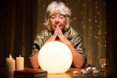 Predicting future from crystal ball Royalty Free Stock Photography