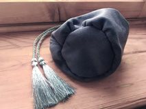 Prediction esoteric witch gray textile bag for tarot and runes. Prediction esoteric witch gray textile bag for tarot royalty free stock photos