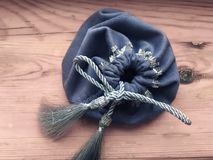Prediction esoteric witch gray textile bag for tarot and runes. Prediction esoteric witch gray textile bag for tarot stock image