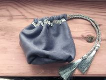 Prediction esoteric witch gray textile bag for tarot and runes. Prediction esoteric witch gray textile bag for tarot stock photos