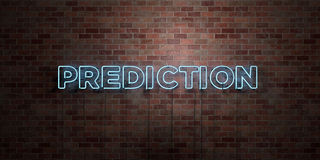 PREDICTION - fluorescent Neon tube Sign on brickwork - Front view - 3D rendered royalty free stock picture Royalty Free Stock Images