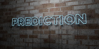 PREDICTION - Glowing Neon Sign on stonework wall - 3D rendered royalty free stock illustration Stock Photography