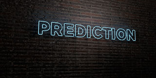 PREDICTION -Realistic Neon Sign on Brick Wall background - 3D rendered royalty free stock image Stock Photos