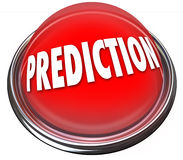 Prediction Red 3d Button Prophesy Fate Destiny Fortune Telling. Prediction word on a red button or flashing light to illustrate fate, destiny, prophesy or Stock Photography