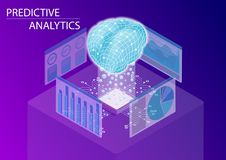 Predictive analytics and business analysis concept. 3d isometric vector illustration.