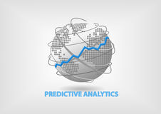 Predictive Analytics concept as  illustration. Globe and world map in flat design Royalty Free Stock Photos