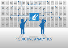 Predictive analytics  illustration. Two analysts analyzing reporting dashboard Stock Images