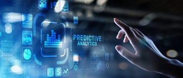 Predictive internet f?r intelligens f?r aff?r f?r analyticsBig Data analys och modernt teknologibegrepp p? den faktiska sk?rmen royaltyfri fotografi