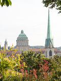 Predigerkirche,苏黎世大学和Fluntern教会 免版税库存图片