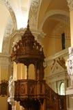 Predikstol av domkyrkan på den huvudsakliga plazaen, Arequipa, Peru Royaltyfria Foton