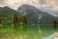 Predil lake in Italian Alps Royalty Free Stock Photo