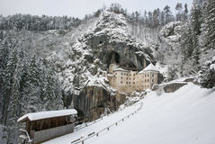 Predjama castle in the winter, Slovenia Royalty Free Stock Images