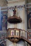 Preekstoel in parochiekerk van Sinterklaas in Slechte Ischl, Oostenrijk Stock Afbeelding