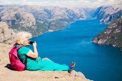 Preekstoelrots met oudere vrouw Royalty-vrije Stock Fotografie