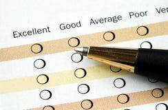 Preencha o exame da satisfação Imagem de Stock