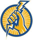 Preensão da mão um parafuso de relâmpago da eletricidade ilustração royalty free