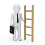 preensão do homem da pasta do negócio 3d uma escada Foto de Stock