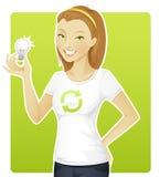 Preensão Eco-friendly da mulher uma lâmpada Fotografia de Stock