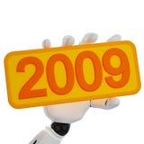 Preensão robótico da mão uma placa com 2009 Fotografia de Stock