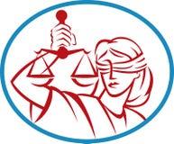 A preensão da senhora pesa justiça das escalas Imagens de Stock Royalty Free
