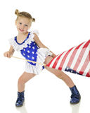 Preescolar con banderas Foto de archivo