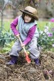 Preescolar resuelto que goza traspalando el abono o el estiércol vegetal en jardín Fotos de archivo
