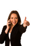 Preety asian caucasian business woman gesturing success showing Royalty Free Stock Photography