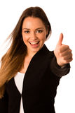Preety asian caucasian business woman gesturing success showing Stock Image