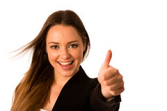 Preety asian caucasian business woman gesturing success showing Stock Photo