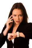 Preety asian caucasian woman looks watch gesture being late Royalty Free Stock Photos